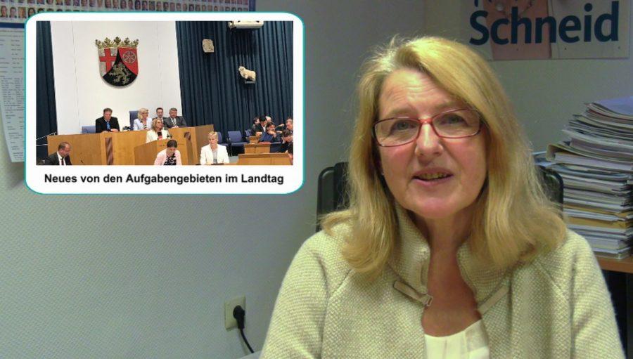 VIDEO: Marion Schneid Informiert – Aufgaben im Landtag, Hochschulpakt, Frauengleichstellung, Gesundheitsversorgung, Landesparteitag, Ausblick